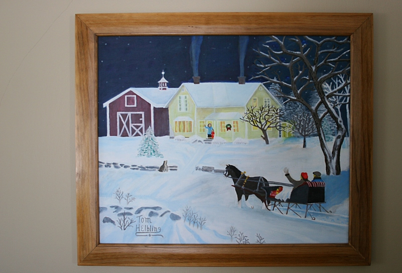 My father-in-law painted this holiday scene, which is why I treasure it. Plus, I really like the painting.