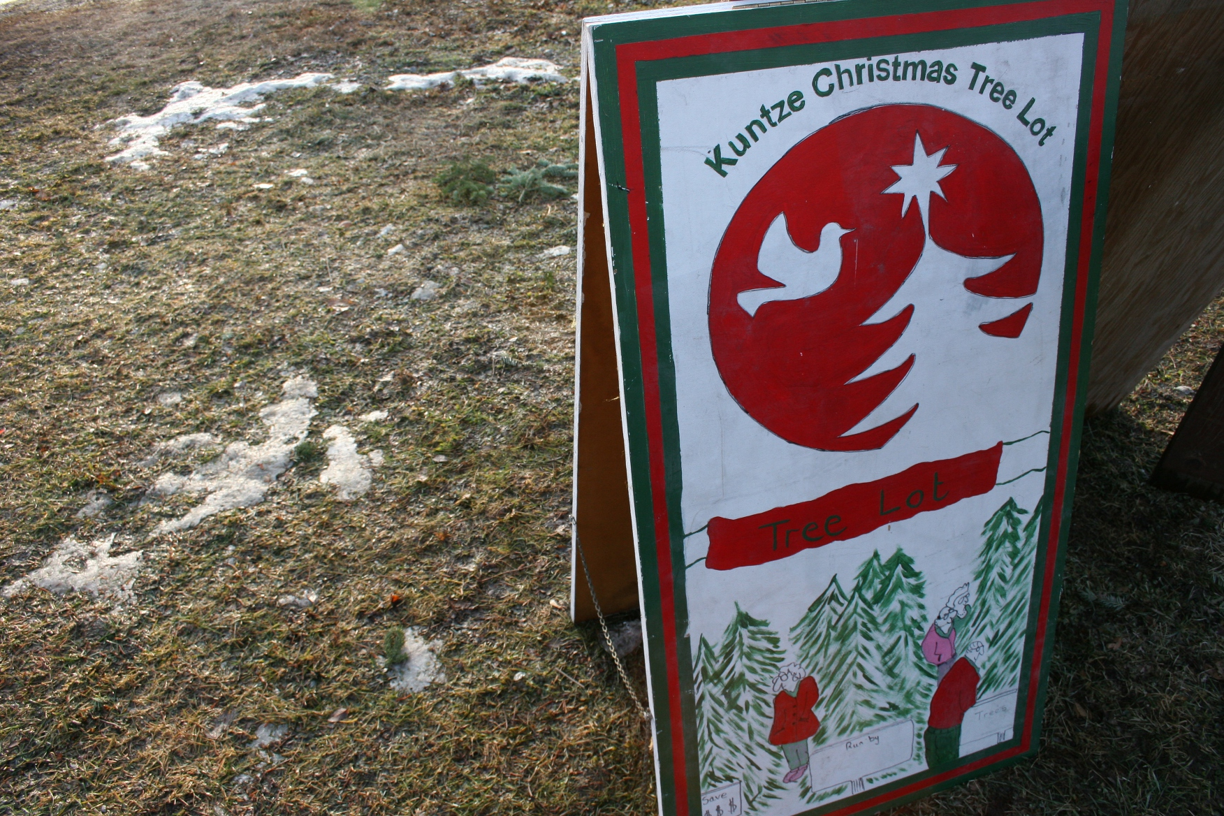 Christmas Trees Sign Close Up