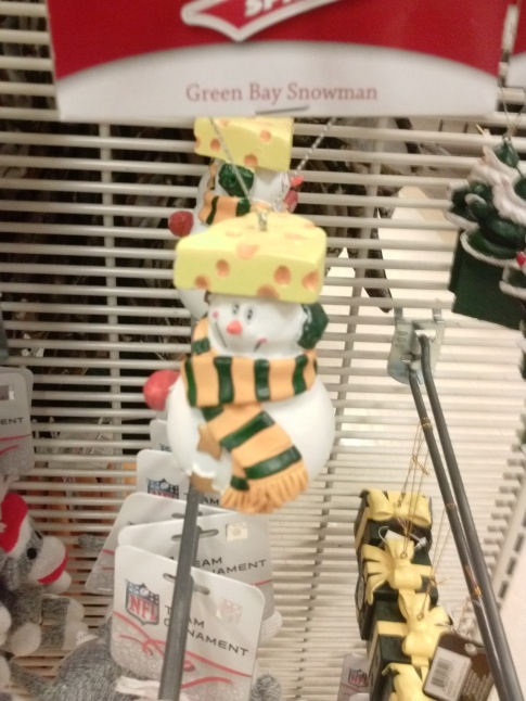 My daughter photographed this display of Green Bay Packers themed holiday items at Shopko.