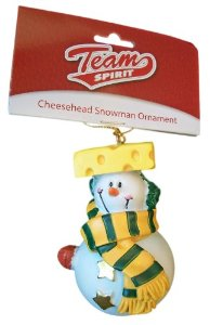 A clearer image of the Packers Cheesehead snowman from the Green Bay Packers Shop.