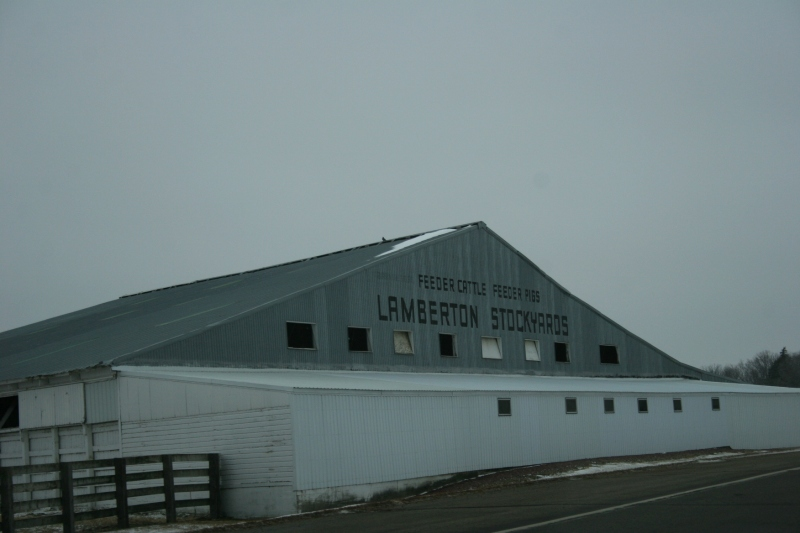 Entering Lamberton from the east, the Lamberton Stockyards.