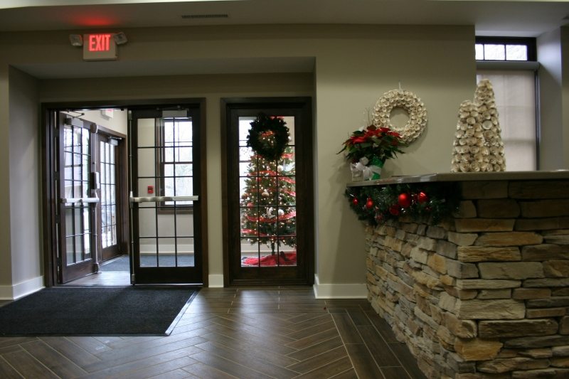 The lobby and entry, simply and beautifully decorated for the holiday.