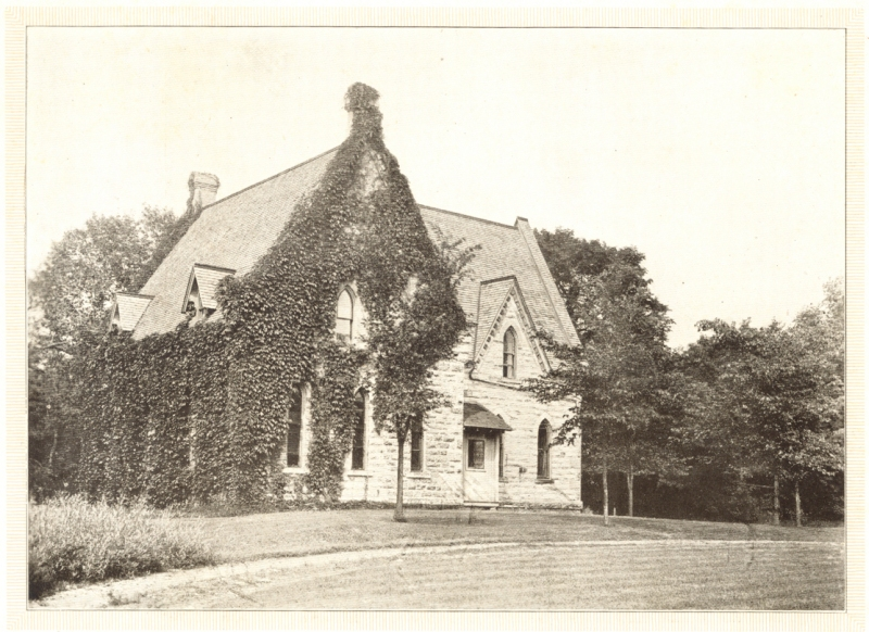 BUILT: The original part of the building was constructed in 1871 as the library for Seabury Divinity School. When the school relocated, the building was sold to Shattuck School and a small wing was added to the east. The building became Phelps Cottage, serving as a boys' dormitory. Photo courtesy of Shattuck-St. Mary's School.