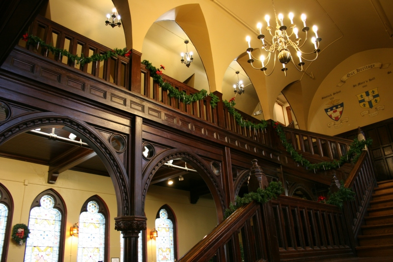 This ornate stairway stands just outside the dining hall.
