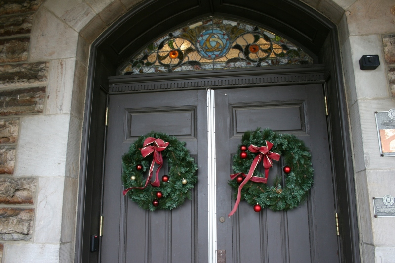 Wreaths aplenty, including these on the entry to Shumway Hall, decorated the campus.