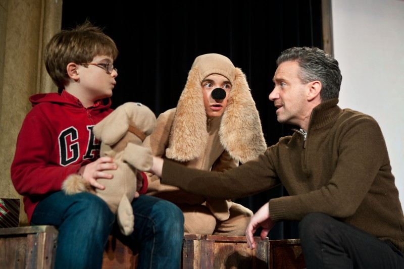 The Santa Diaries actors, left to right, Thomas Drenth as Timmy; Samuel Temple as Marley the Dog; and Michael Lambert as Will Hawes. Photo by Edward Brown and courtesy of The Merlin Players.