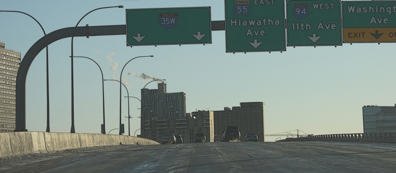 Southbound on Interstate 35W over the Mississippi River near downtown Minneapolis.