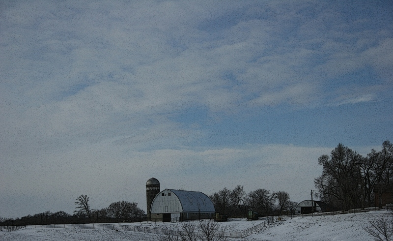 A rural scene along Interstate 35 north of the Northfield, Minnesota, exit.