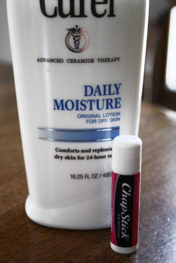 Winter necessities: lotion and Chap Stick.