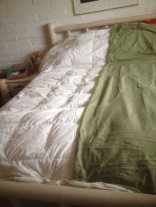 The prize: a toasty warm white down comforter, left, with a green duvet cover, right.