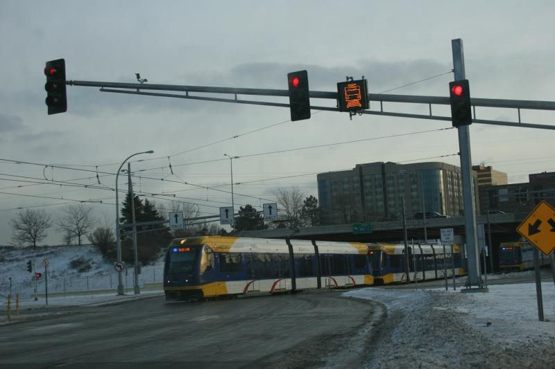 The light rail heads toward the Minneapolis-St. Paul International Airport.