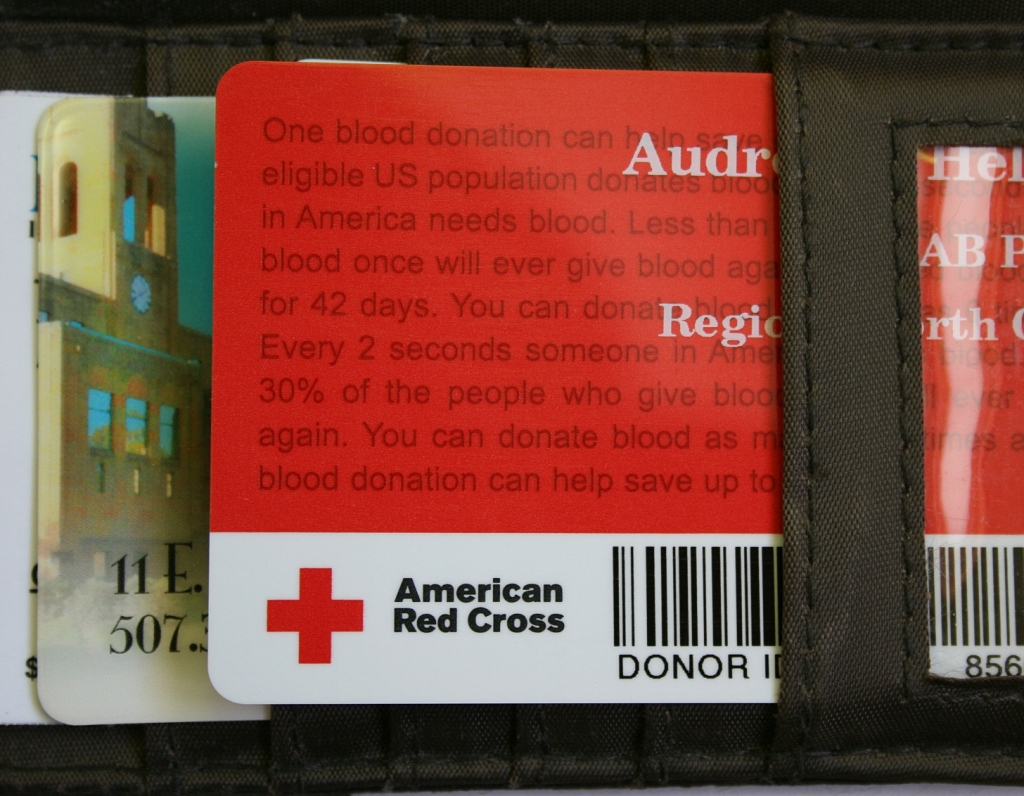 Blood donation card