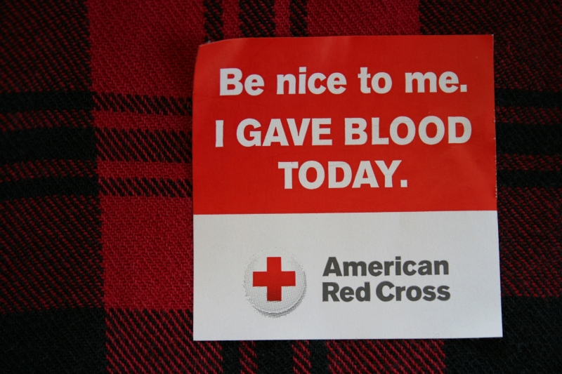 Blood donation sticker