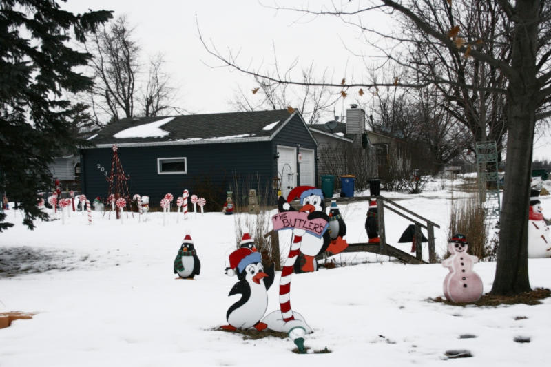 A snippet of the Christmas decorations on the Butler property.
