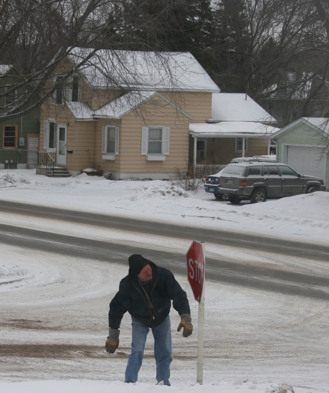 A City of Faribault worker removed the downed stop sign and replaced it with a temporary one shortly after the police left.