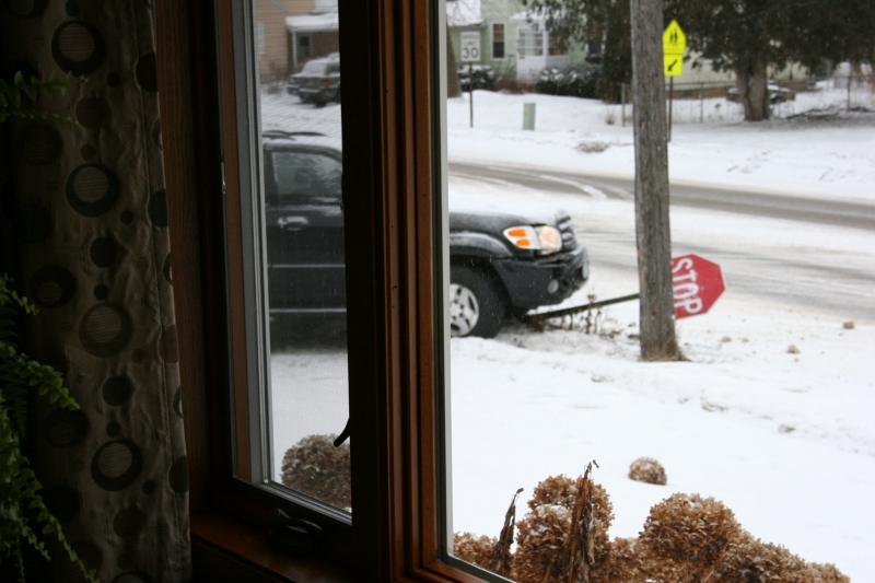 My first view of the crash through my living room window.