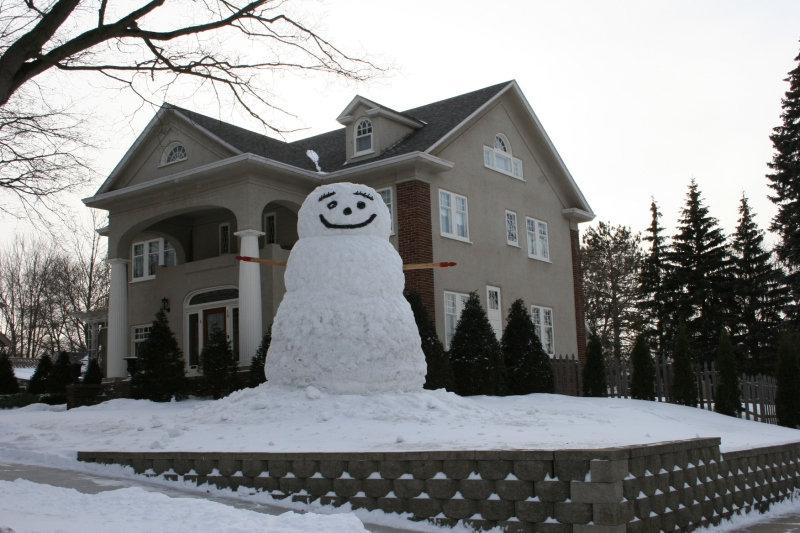 In the Hoisington family's Faribault yard, this snowman is sure to make you smile.