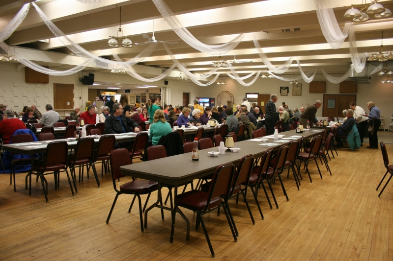 An overview of a section of the spacious dining area.