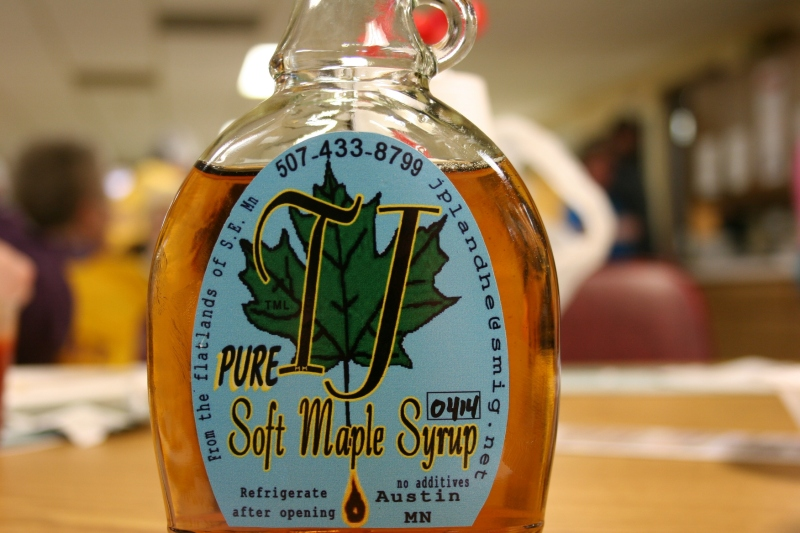 One couple brought their own pure maple syrup to pour onto the Lions Club pancakes.