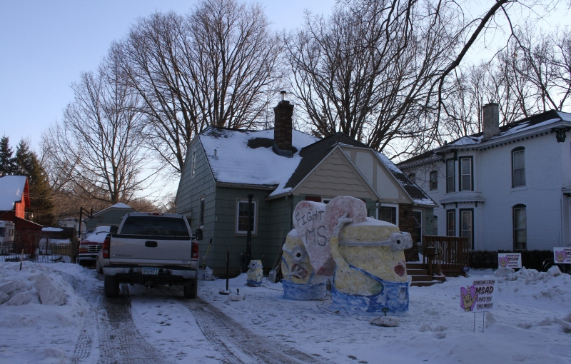 Snow sculpture, Minions in yard