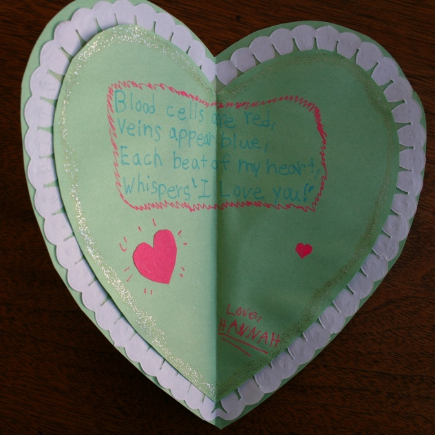 The valentine Hannah created just for me.
