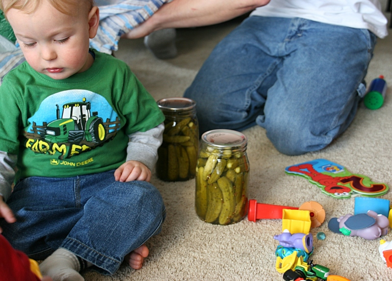 Landon loves his grandma's pickles and wanted some for his birthday. He got two jars. But there was no sharing. I can vouch for the deliciousness of these pickles.