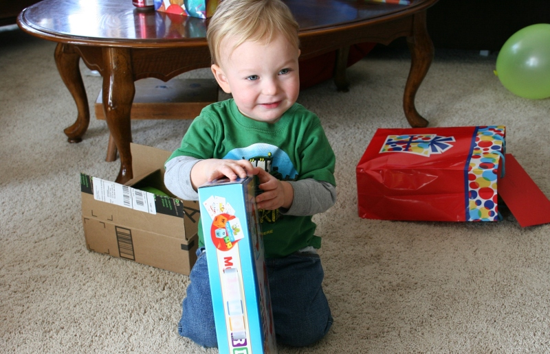 There's such joy in watching a two-year-old open his gifts.