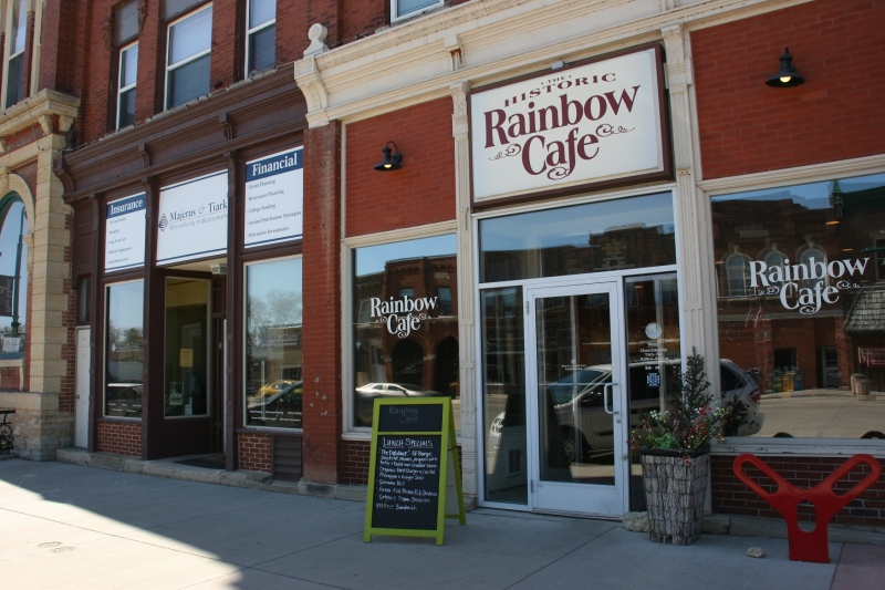 The Rainbow Cafe is among businesses housed in historic and architecurally interesting buildings.