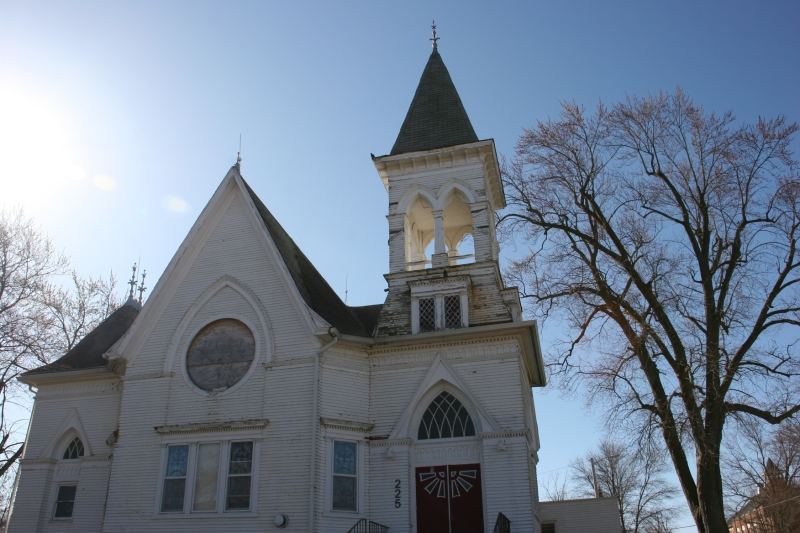 Church in West Concord, close-up