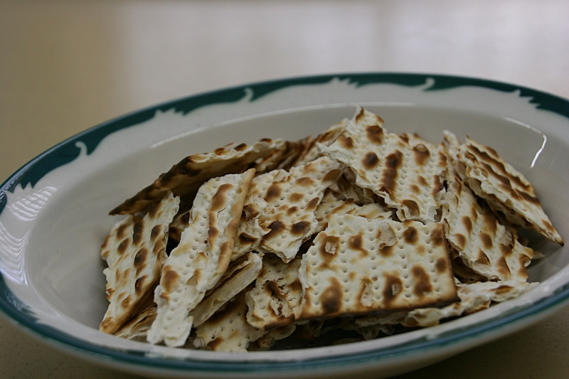 Matzo, unleavened bread from Jerusalem, was served as reprsentative of food from Jesus' time period.