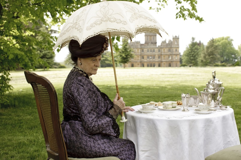 A film still of Maggie Smith's character, Violet Crawley. This costume will be featured in the exhibit. Photo credit: Carnival Films/Masterpiece and courtesy of the Paine Art Center and Gardens.