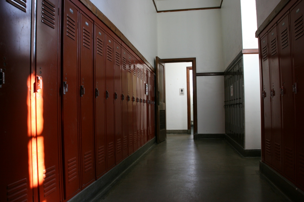 In a narrow hallway off the gym, leading to the women's bathroom, I discovered these rows of lockers painted in the school color.
