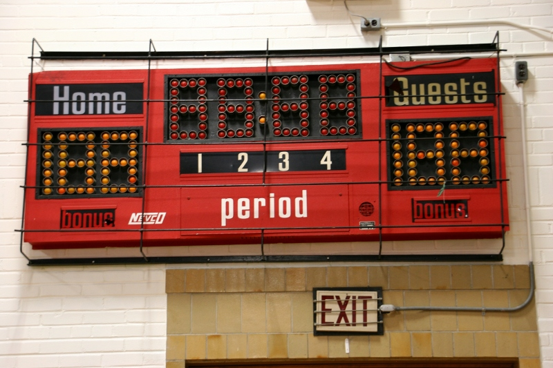 The original, non-digital, scoreboard that uses light bulbs still graces the 1936 former West Concord School gym.