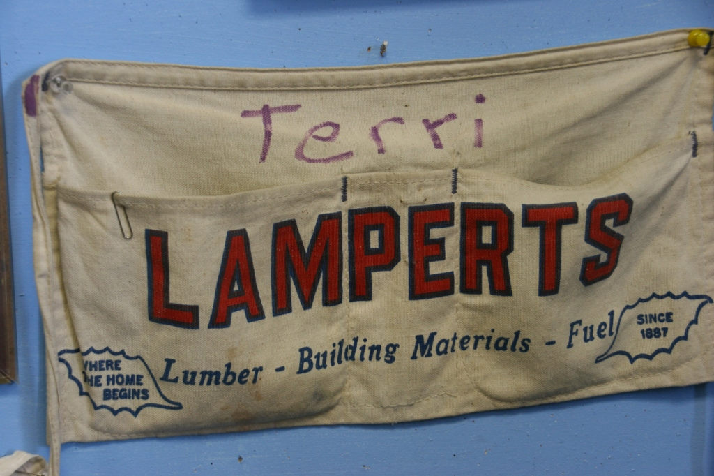 I was delighted that this apron was saved and displayed in The Farmers and Merchants Room. Lumber yards were once such an important business in small towns.