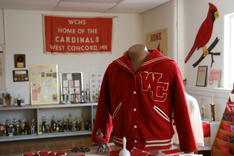 The museum includes The Cardinal Room filled with West Concord High School activity memorabilia.