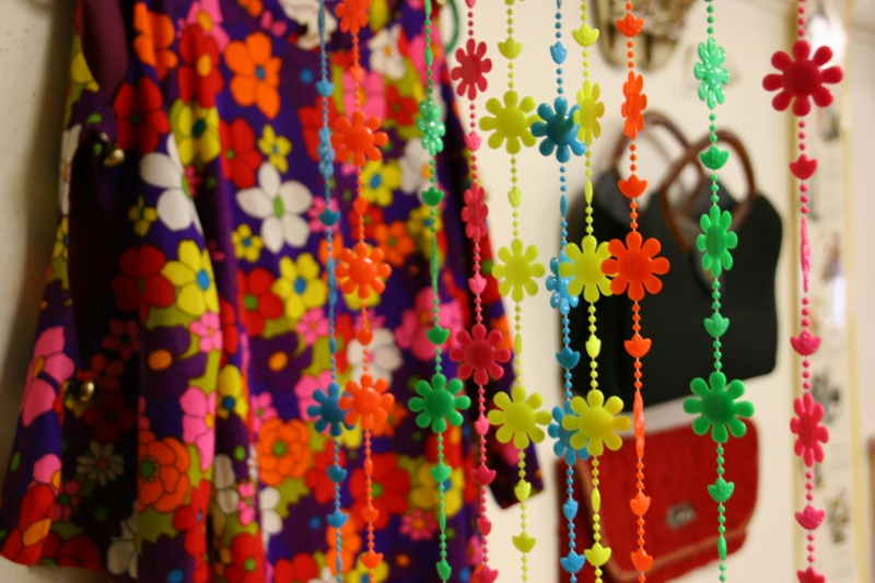 When I nearly ran into these dangling beads inside the doorway to The 50's and 60's Room, I knew this would be my favorite themed room. It was.