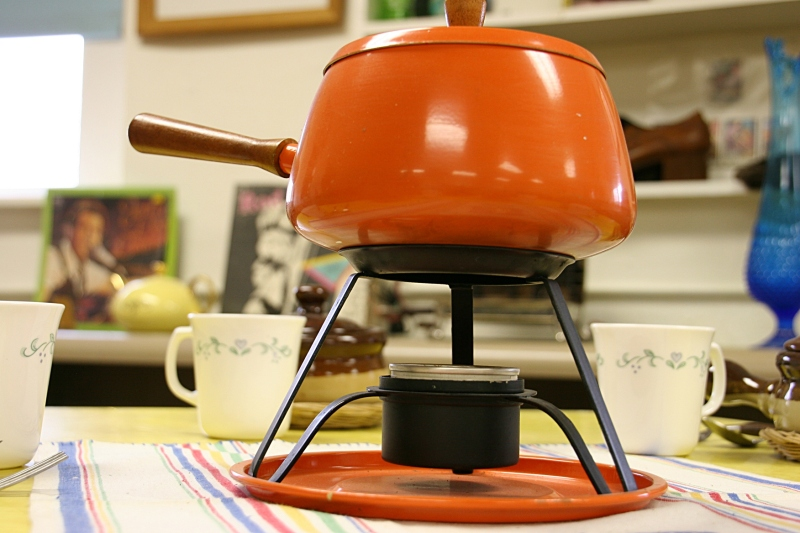 A fondue pot. I remember using a fondue pot in my high school home economics class.