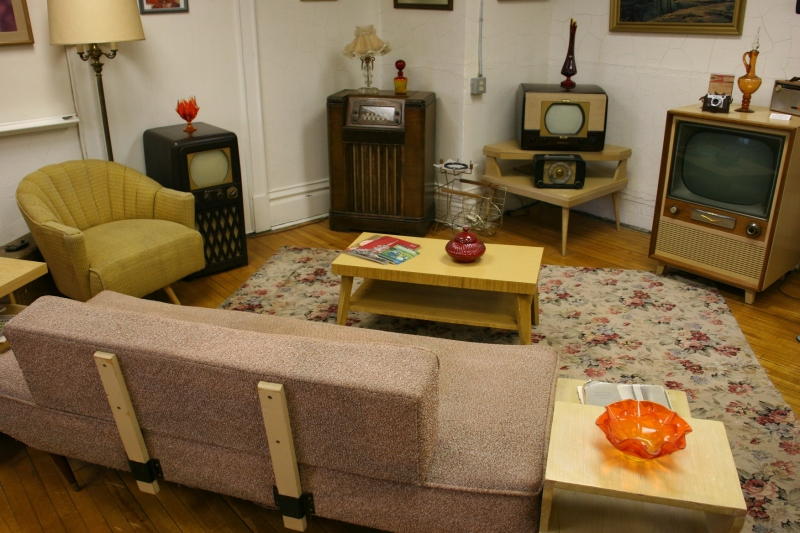 The museum feels living room comfortable, like this 1950s living room set up in The 50's and 60's Room.
