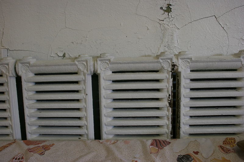 Old radiators in The Shell Room, which features a collection of shells donated by Burton Goddard and Miriam Goddard.
