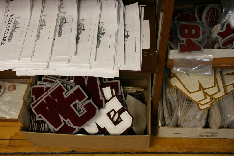School letters left-over from West Concord High School are available for purchase.