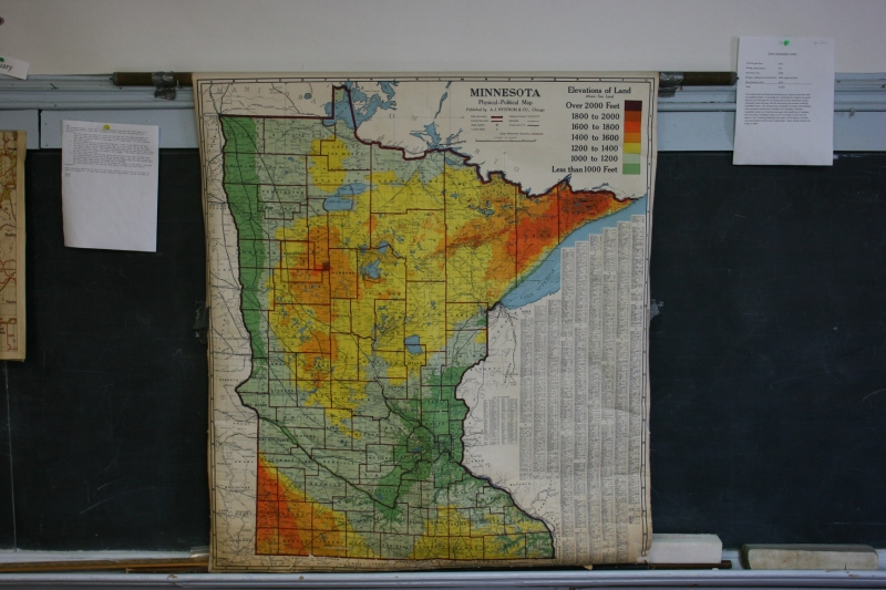 Pull-down maps like this one of Minnesota remain in some classrooms.