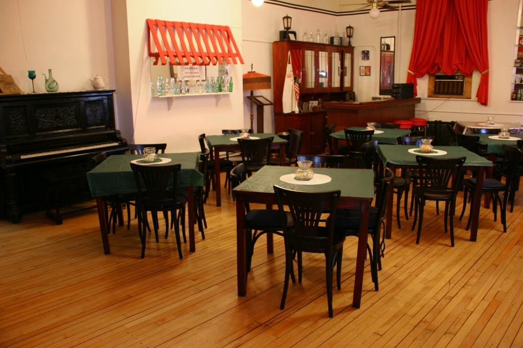 This entire former classroom is set up to look like the 1930s-early 1940s Flame Room once housed in the Concord Hotel. This space can be rented for gatherings.