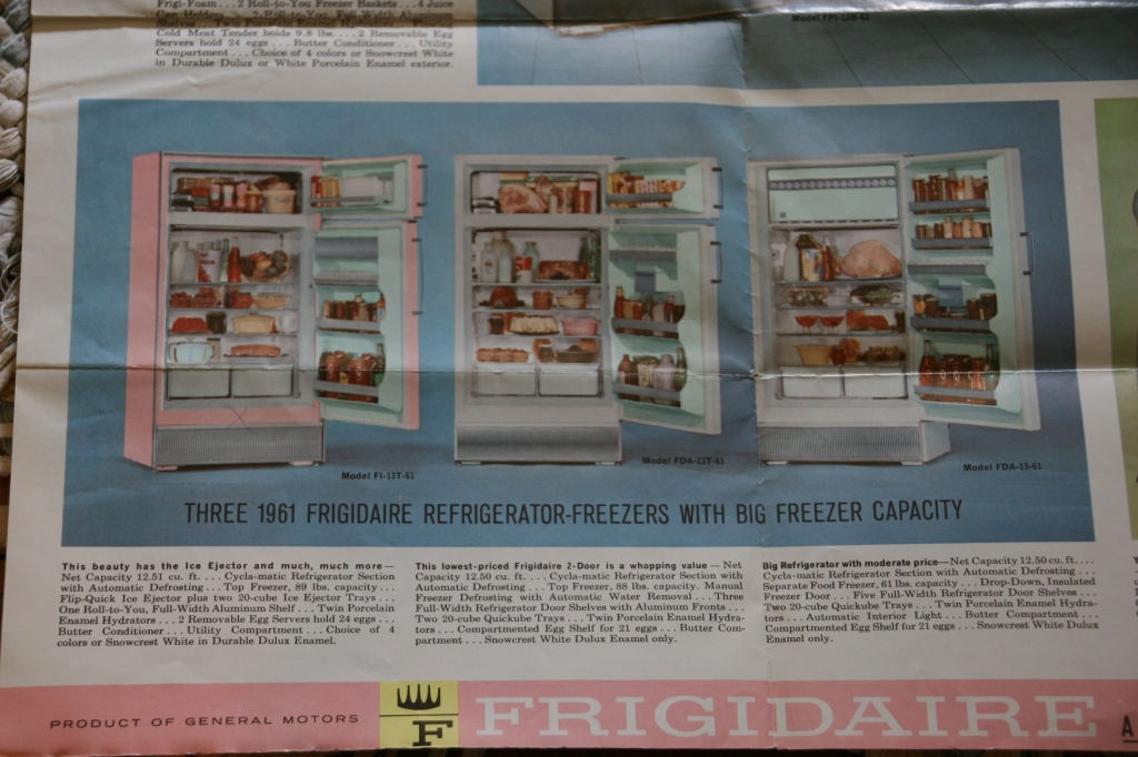 Vintage ads and graphics, like this one for pink Frigidaire appliances, always draw my attention