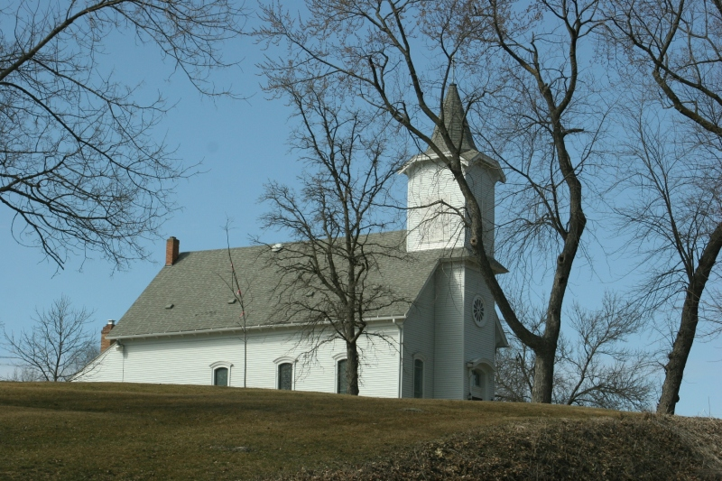 First Presbyterian Church, constructed in 1871, sits atop a hill.