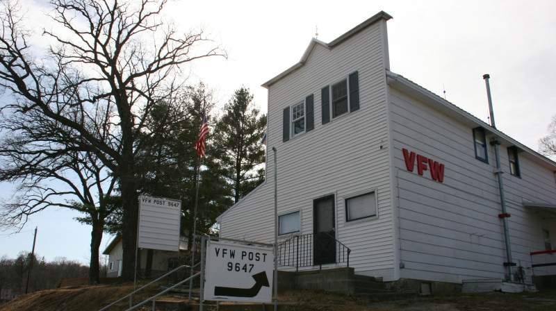 The downtown VFW sits atop a hill, too.