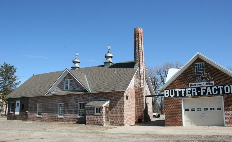 This old butter factory now holds bicycles available to ride on area trails.
