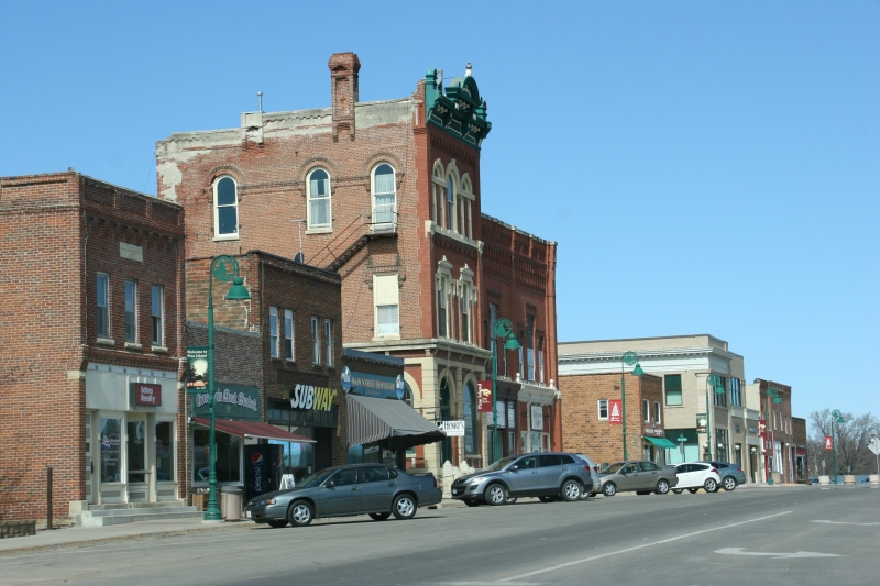 A broad view of downtown historical buildings with grand architecture.