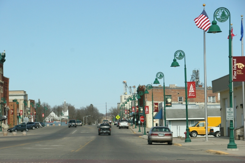 A view of Pine Island's Main Street while driving into the downtown.