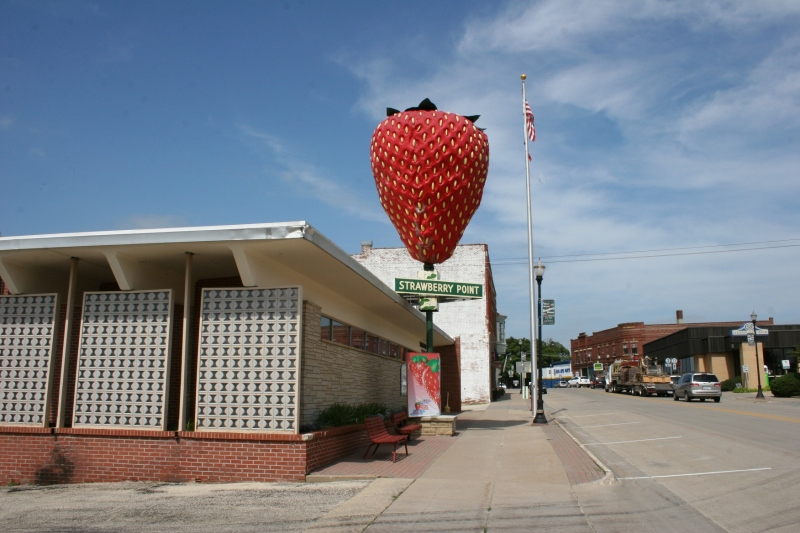 The strawberry sculpture sits in the heart of downtown Strawberry Point.