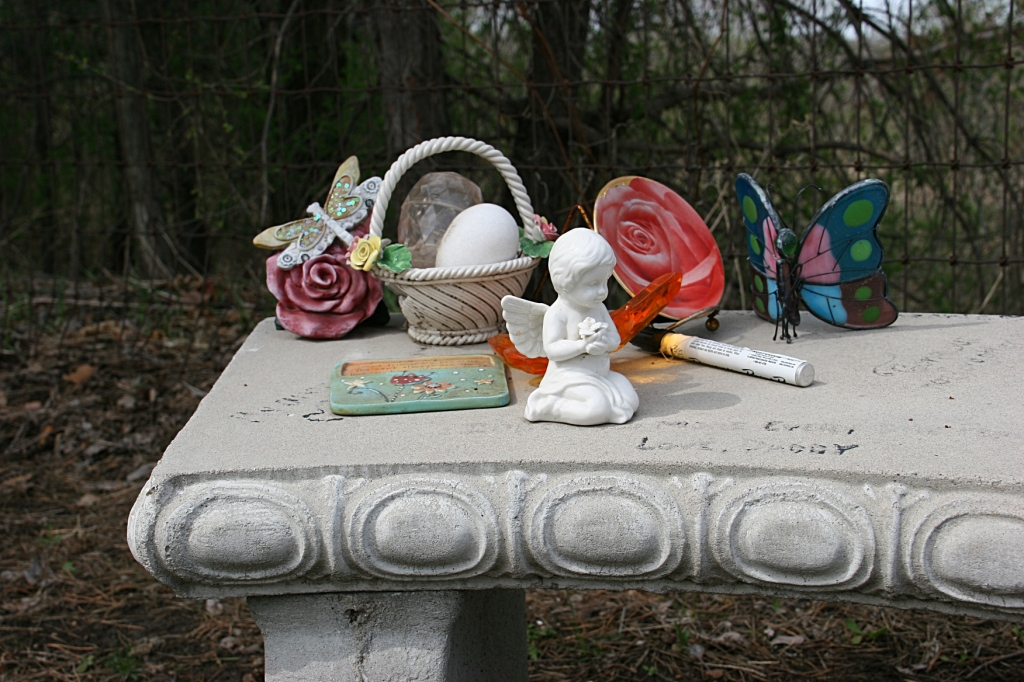 Visitors to Brittney's memorial can write a message on the bench.